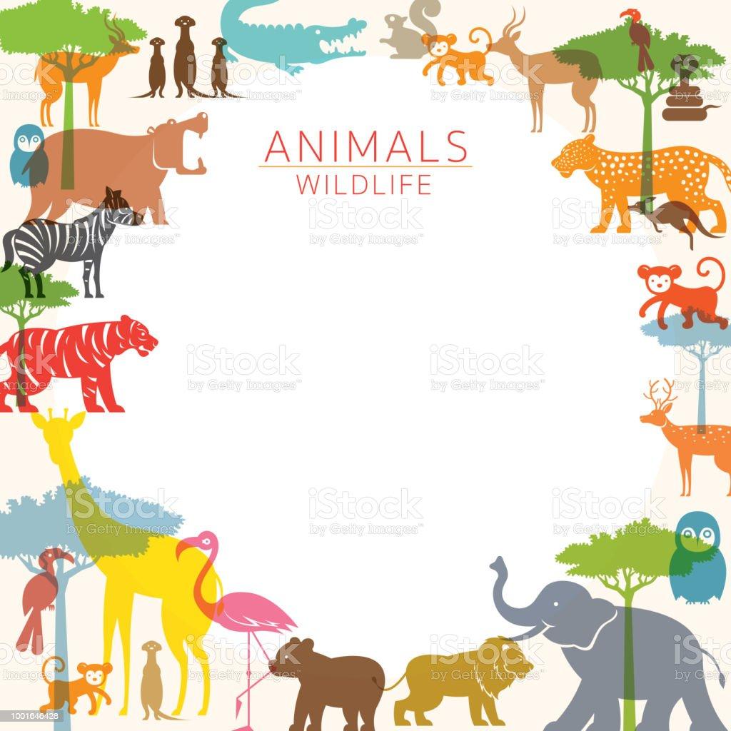野生動物動物園フレームのグループ - アリゲーターのベクターアート素材