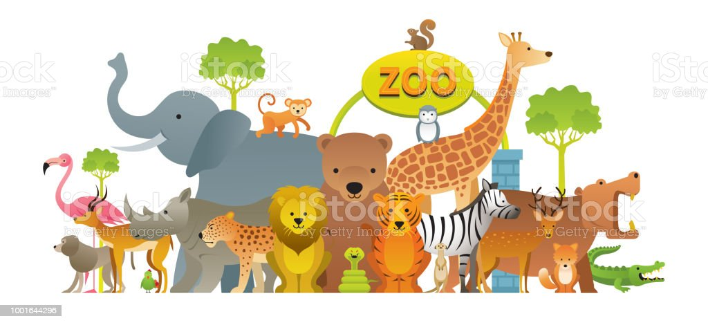 Group Of Wild Animals Zoo Stock Vector Art & More Images