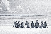 Etching illustration of group of women at beach.