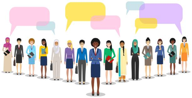 stockillustraties, clipart, cartoons en iconen met groep vrouwenzaken vrouwen staan samen en spraak bubbels op witte achtergrond in platte stijl. business team en teamwork. verschillende nationaliteiten en kledingstijlen. concept van de opiniepeiling. - medewerkerbetrokkenheid