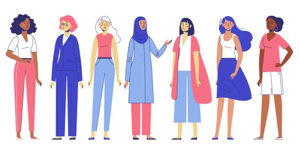 Group of women. Different female characters of diverse ethnicity standing together. Happy young girls friends. Flat illustration isolated on white background. battle of the sexes concept stock illustrations