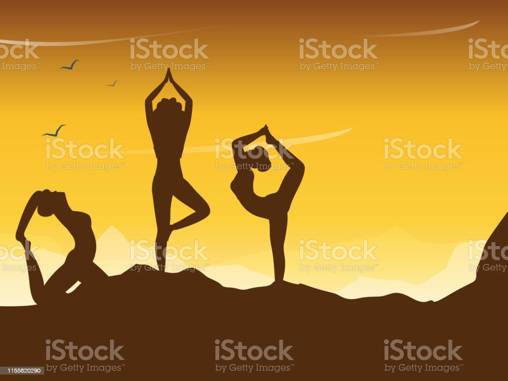 Group Of Women Doing Yoga In Different Poses On Top Of Mountain For Yoga Day Celebration Beautiful Poster Or Banner Design Stock Illustration Download Image Now Istock