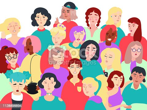 istock Group of Women Flat Vector Illustration 1128898894