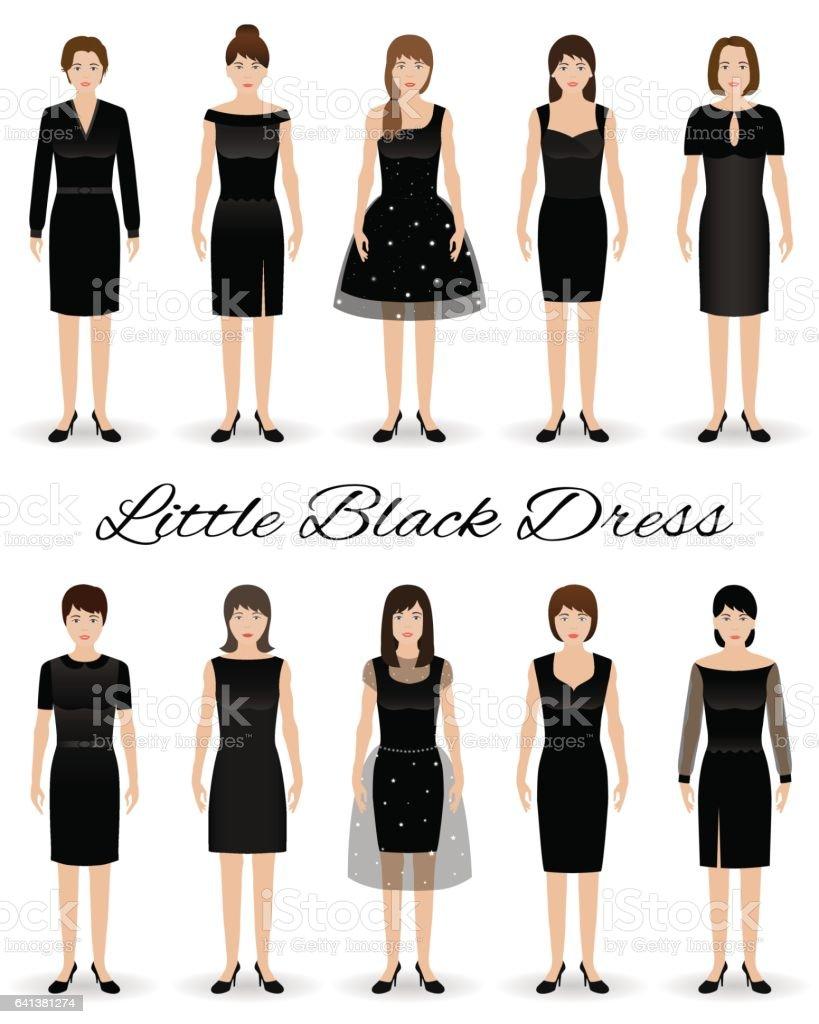 Gruppe Von Frauen In Kleine Schwarze Kleider Satz Von Cocktailkleidern Auf  Eine Modelle Stock Vektor Art und mehr Bilder von Abendgarderobe