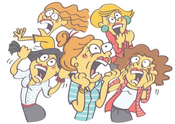 ilustrações de stock, clip art, desenhos animados e ícones de group of women in panic - puxar cabelos