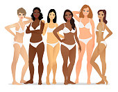 Group of diverse young women in underwear isolated on a white background.