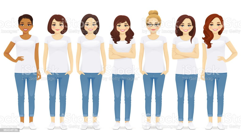Group of women vector art illustration