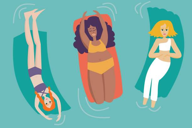 Group of women with different body shapes enjoying the pool - Body Positive Concept vector art illustration
