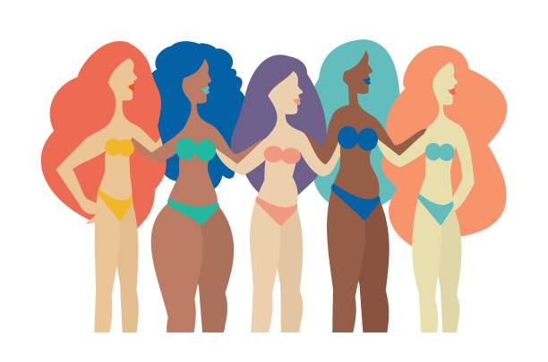 Group of women with different shapes embracing their bodies vector art illustration