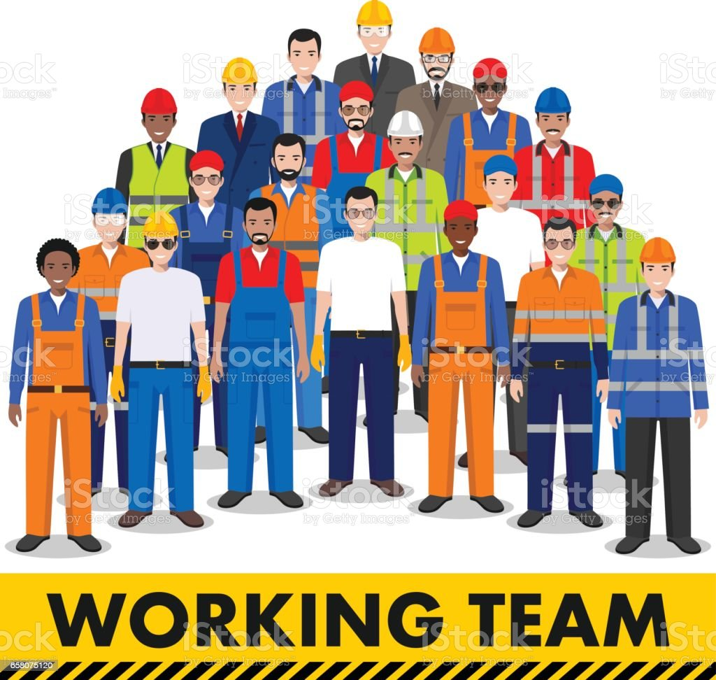 Group of worker, builder and engineer standing together on white background in flat style. Working team and teamwork concept. Different nationalities and dress styles. Flat design people characters. vector art illustration