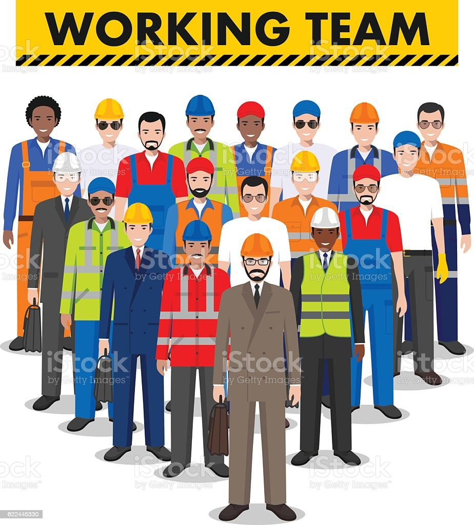 Group of worker, builder and engineer standing together. Working team. vector art illustration