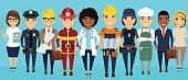 A group of workers. Professionals in their field, lined up against a blue background. Ethnically different. In flat style.