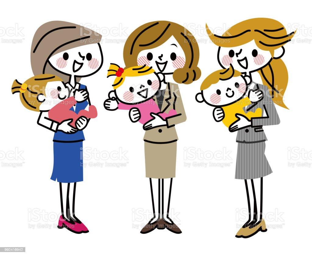 Un groupe de mères qui travaillent. - Illustration vectorielle