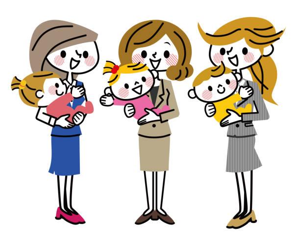illustrations, cliparts, dessins animés et icônes de un groupe de mères qui travaillent. - femmes actives