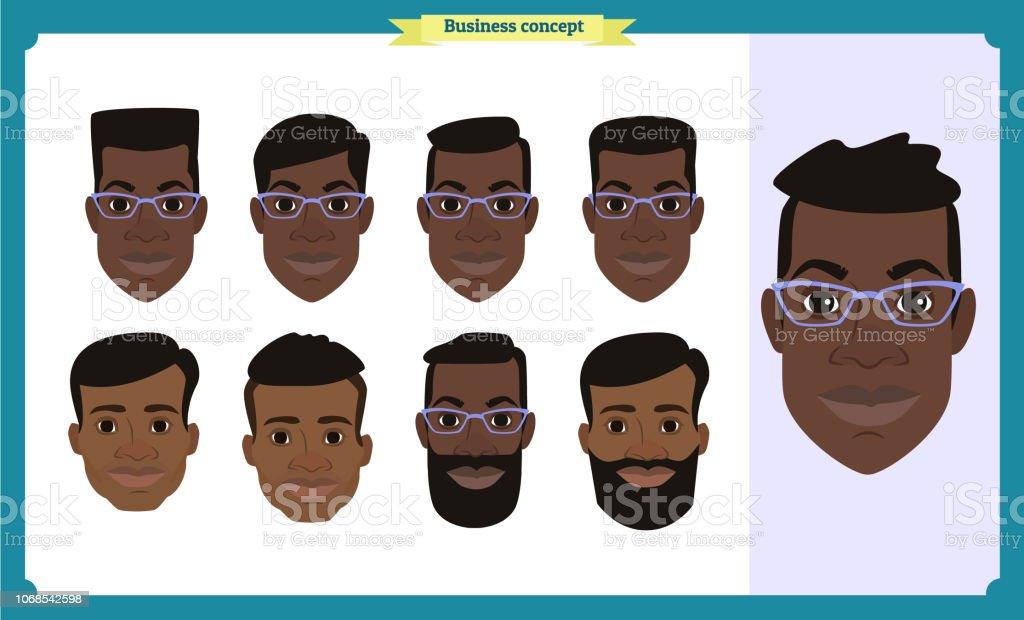 2163780d3 Grupo de pessoas que trabalham, ícones de avatar do negócio negro  americano. Personagens de