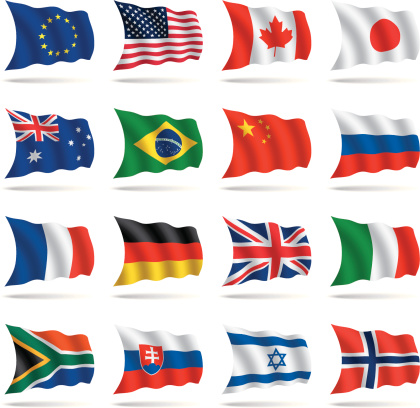 A group of world flags on a white background