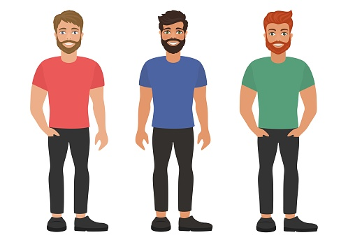 A group of young bearded men in colorful T-shirts and dark jeans.