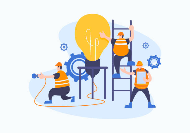 젊은 비즈니스 사람들의 그룹 공동 작업, 문제를 해결, 창조적 인 아이디어에 대한 생각, 브레인 스토밍 및 팀워크 개념. 엔지니어 또는 작업자 플랫 스타일 벡터 그림입니다. - 모자 모자류 stock illustrations