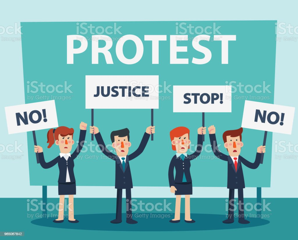 Group of young business people protesting in a city street. Business men and women holding protest posters royalty-free group of young business people protesting in a city street business men and women holding protest posters stock vector art & more images of activist