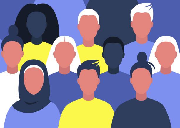 ilustraciones, imágenes clip art, dibujos animados e iconos de stock de grupo de jóvenes personajes reunidos, diversidad, red profesional, comunidad moderna - black people