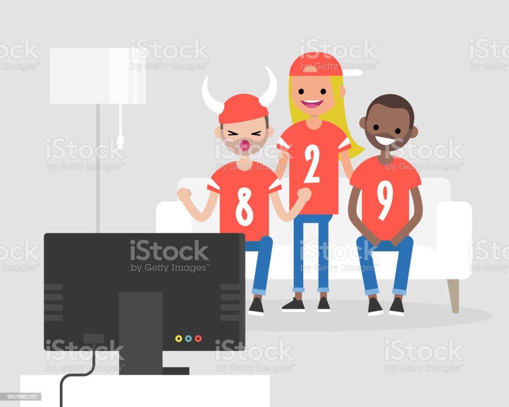 Gruppe Von Jungen Fussballfans Fernsehen Und Ihr Team Zu