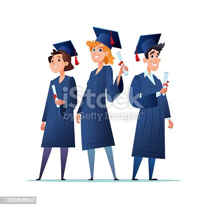istock A group of young graduates smiling. Boys and girls in graduation gown, cap and holding a diploma. Flat cartoon vector 1309808842