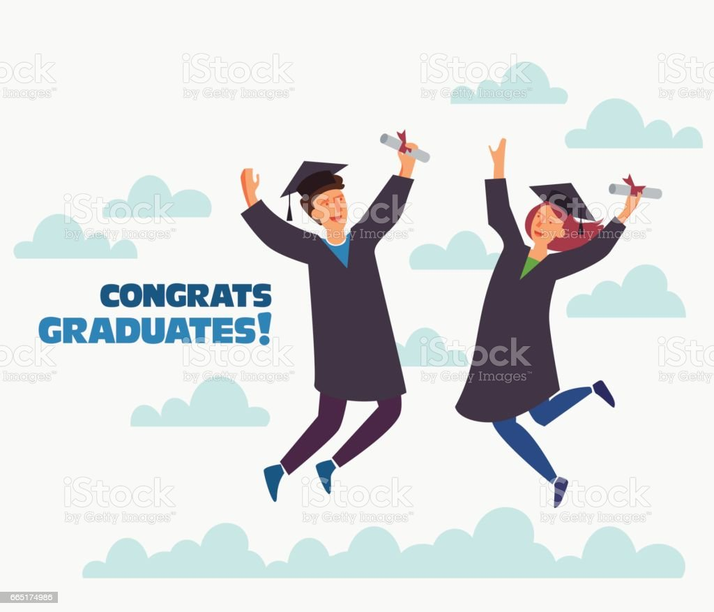 Group of young graduates with diploma jumping on white background with copy space vector art illustration
