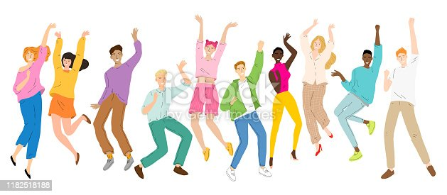 istock Group of young happy dancing people, dancing characters, men and women dance party, disco. 1182518188