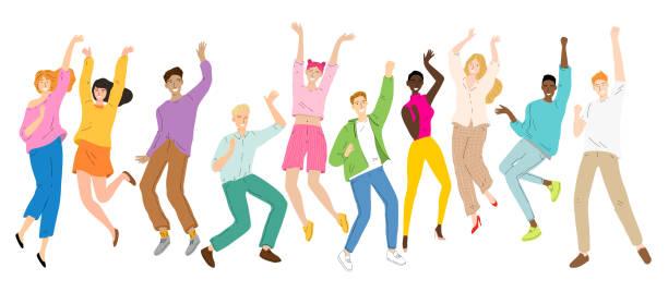 Gruppe von jungen fröhlich tanzenden Menschen, tanzende Charaktere, Männer und Frauen Tanzparty, Disco. – Vektorgrafik