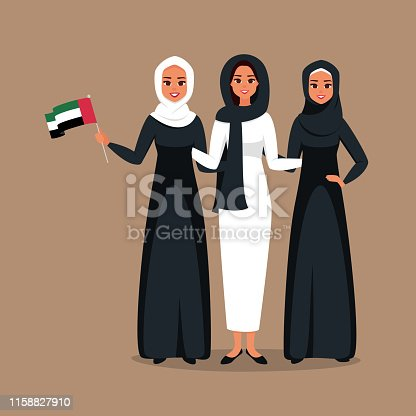Group of young muslim businesswomen standing together at celebration Emirati Women's day. Vector illustration in flat cartoon style