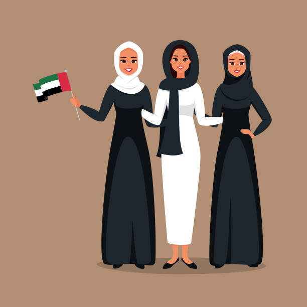 group of young muslim businesswomen standing together at celebration emirati women's day - arab stock illustrations