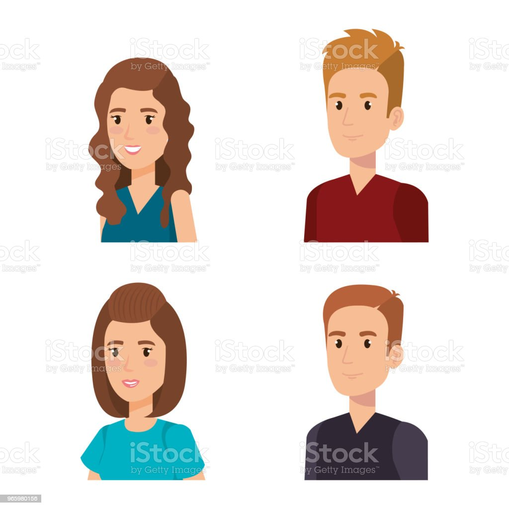 group of young people avatars - Royalty-free Adulto arte vetorial