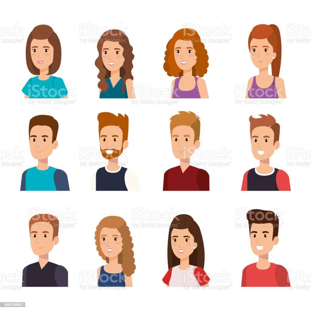 group of young people avatars - Royalty-free Adult stock vector