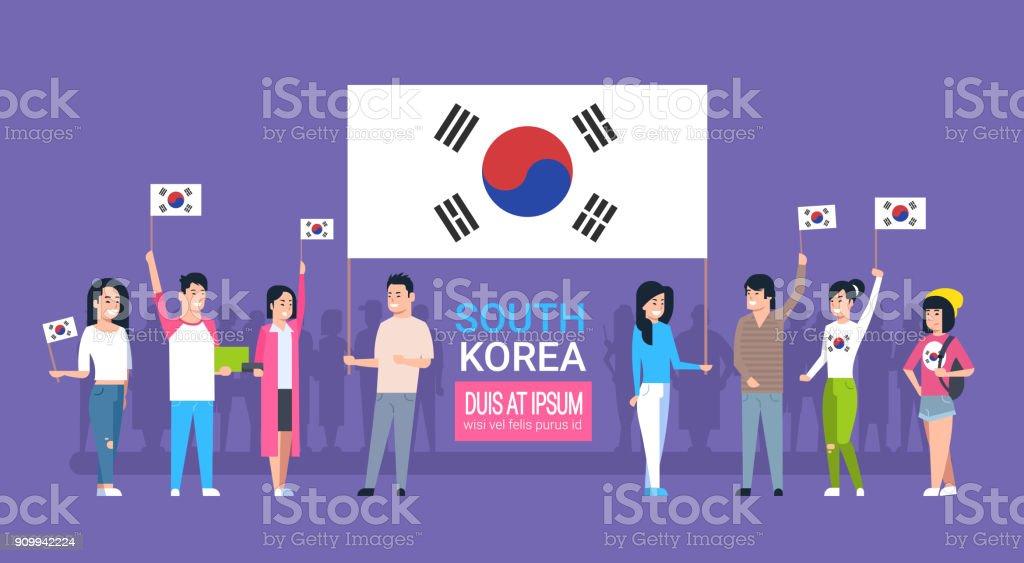Grupo de jovens segurando bandeira coreana Coreia do Sul jovens homens e mulheres - ilustração de arte em vetor