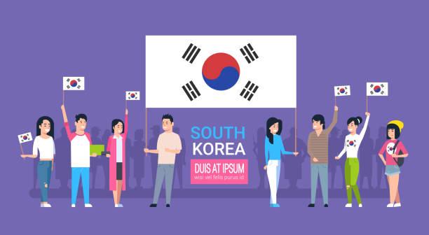 ilustrações, clipart, desenhos animados e ícones de grupo de jovens segurando bandeira coreana coreia do sul jovens homens e mulheres - bandeira da coreia