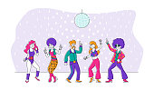 istock Group of Young People in 1970s 1980s Fashion Style of Clothes and Hairstyle Dancing Disco Dance. Stylish Men and Women Characters Dance at Retro Disco Party in Night Club. Linear Vector Illustration 1253077507