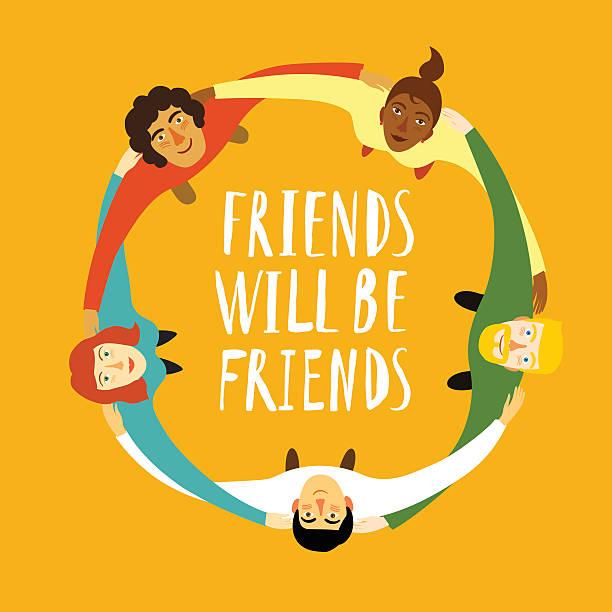 ilustrações, clipart, desenhos animados e ícones de grupo de jovens em círculo - hug