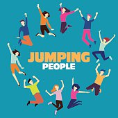 Group of young people jumping. Blue background with copy space