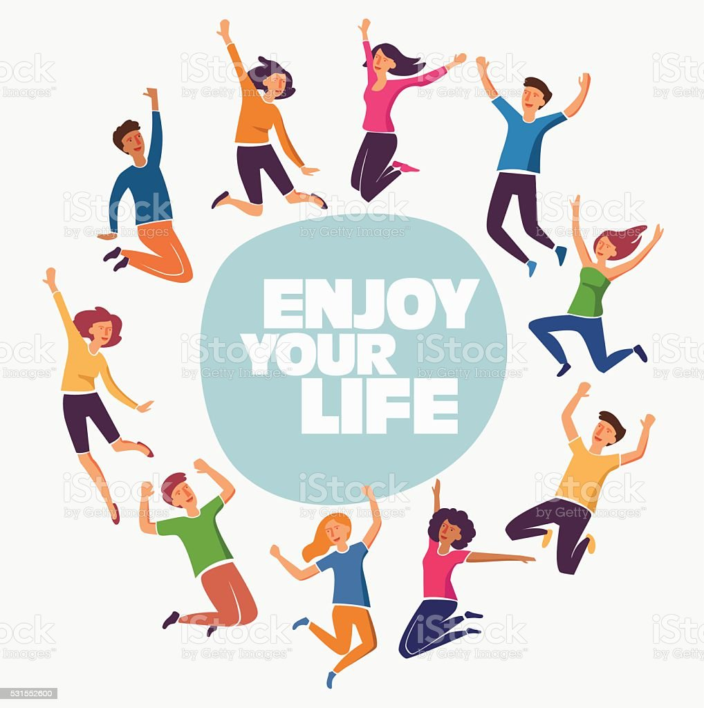 Group of young people jumping on white background with copyspace vector art illustration