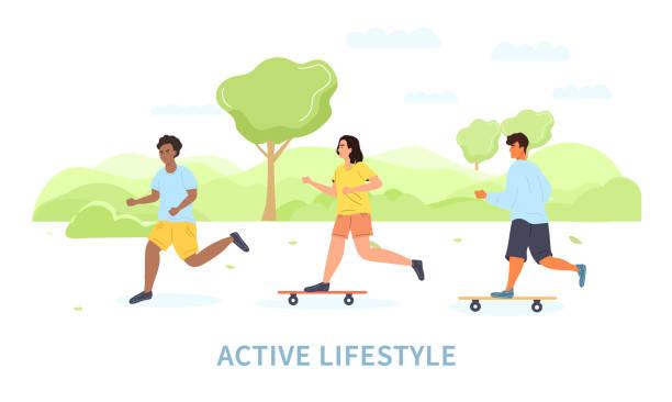 ilustrações de stock, clip art, desenhos animados e ícones de group of young people leading an active lifestyle - young woman running city
