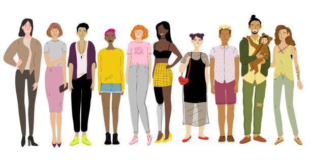 Gruppe von Jugendlichen im Schul- und Schüleralter. Jugendliche, Jugendliche – Vektorgrafik