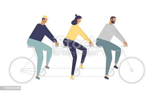 The concept of teamwork. Vector illustration with funny friends. Stylish idea for your pictures. Flat design style, white background isolated.