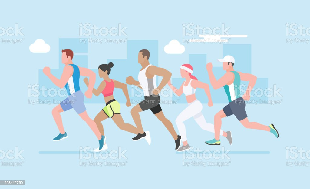 Group of young people running marathon. vector art illustration