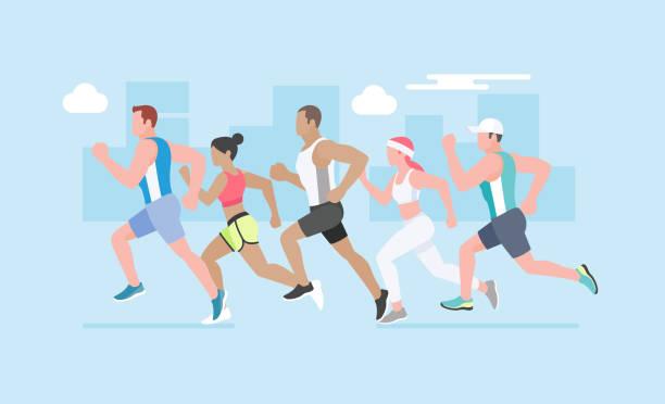 Group of young people running marathon. – Vektorgrafik