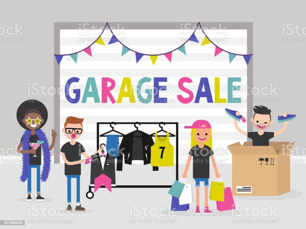 Un groupe de jeunes gens vendant et en achetant des choses lors de la vente de garage. Mode. Illustration de vecteur editable plat, clipart - Illustration vectorielle