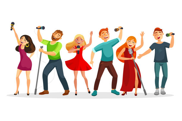 illustrazioni stock, clip art, cartoni animati e icone di tendenza di group of young people singing and dancing with microphones vector illustration in flat design. people collection isolated on white background. youth in karaoke have fun. - ragazza