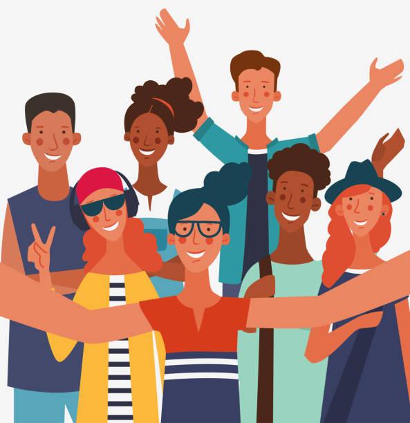 illustrazioni stock, clip art, cartoni animati e icone di tendenza di group of young people taking a selfie and laughing. friendship, communication, teamwork and connection vector concept - uomini giovani