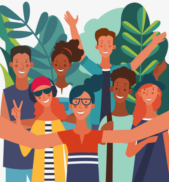 illustrazioni stock, clip art, cartoni animati e icone di tendenza di group of young people taking a selfie and laughing. friendship, communication, teamwork and connection vector concept - woman portrait forest