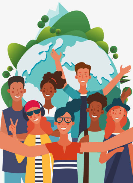 illustrazioni stock, clip art, cartoni animati e icone di tendenza di group of young people taking a selfie and laughing. friendship, communication, teamwork and connection illustration. world map background. eco friendly ecology concept. nature conservation vector poster - woman portrait forest