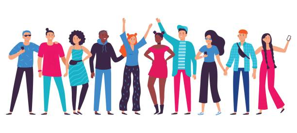 Group of young people. Teenagers team, happy teenager with friends and student person lifestyle flat vector illustration Group of young people. Teenagers team, happy teenager with friends and student person lifestyle. Working corporate conference, human friendship communication flat vector illustration young adults stock illustrations
